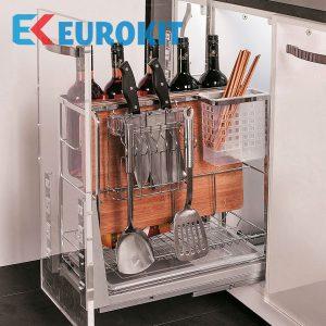 Giá để dao thớt, chai lọ, gia vị nan dẹt EUROKIT EC 300/350 – INOX 304, Ray giảm chấn gắn liền