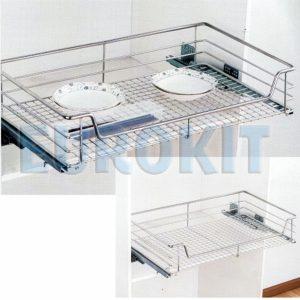 Giá để xoong nồi inox đan ô vuông EUROKIT HE 600/700/800/900 – INOX 304, Ray giảm chấn lắp được trong tủ và mặt cánh