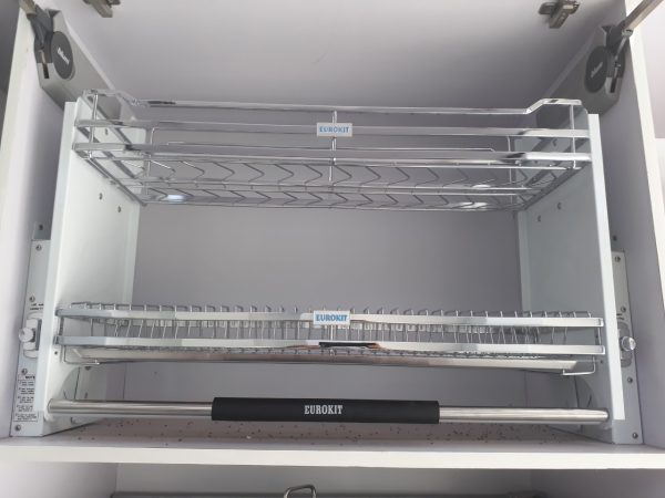 Giá bát nâng hạ EUROKIT UB 600/700 /800/900- Inox 304 – Nan vuông, khay hứng nước bằng Inox