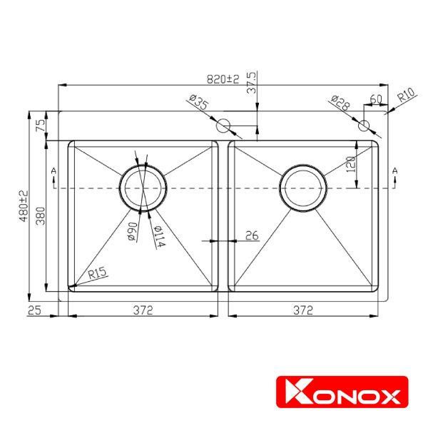 KONOX-Overmount sink KN8248DOB
